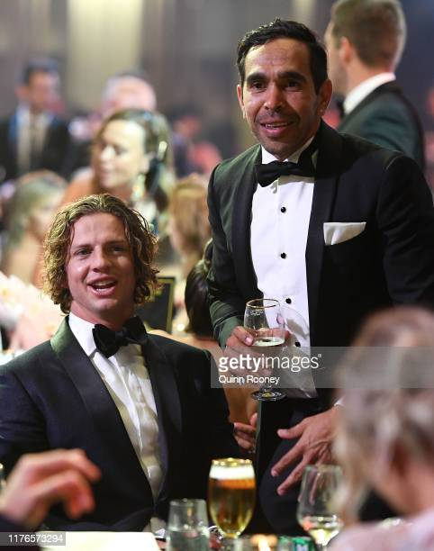 Nat Fyfe of the Dockers celebrates with Eddie Betts at the 2019 Brownlow Medal at Crown Palladium on September 23 2019 in Melbourne Australia