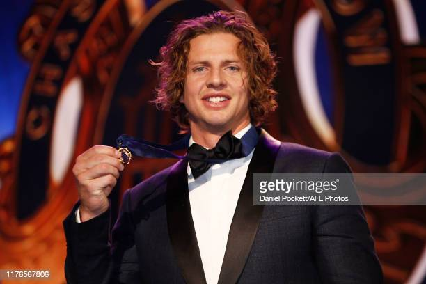 Nat Fyfe of the Dockers celebrates with his Brownlow Medal during the 2019 Brownlow Medal at Crown Palladium on September 23 2019 in Melbourne...