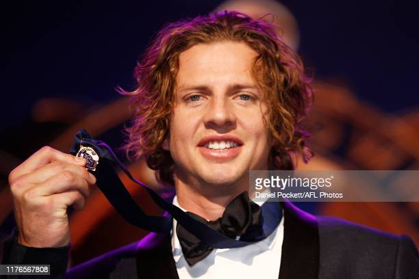 Nat Fyfe of the Dockers celebrates with his Brownlow Medal during the 2019 Brownlow Medal at Crown Palladium on September 23, 2019 in Melbourne,...