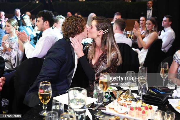 Nat Fyfe of the Dockers celebrates with partner Eleanor Brashaw after winning the 2019 Brownlow Medal at Crown Palladium on September 23, 2019 in...