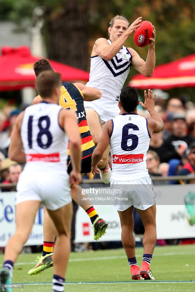 Nat Fyfe of the Dockers flies during the AFL 2018 JLT Community Series match between the Adelaide Crows and the Fremantle Dockers at Strathalbyn on February 25, 2018 in Adelaide, Australia.