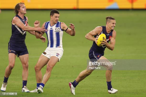 Nat Fyfe of the Dockers in action during the round six AFL match between the Fremantle Dockers and the North Melbourne Kangaroos at Optus Stadium on...