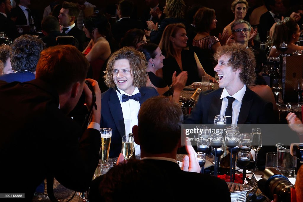 Nat Fyfe of the Dockers is announced as the winner of the 2015 Brownlow Medal at Crown Palladium on September 28, 2015 in Melbourne, Australia.