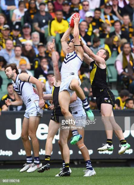 Nat Fyfe of the Dockers marks during the round seven AFL match between the Richmond Tigers and the Fremantle Dockers at Melbourne Cricket Ground on...
