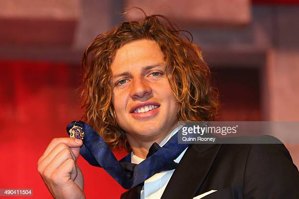 Nat Fyfe of the Dockers poses after winning the 2015 Brownlow Medal at the 2015 Brownlow Medal at Crown Palladium on September 28 2015 in Melbourne...