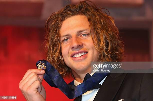 Nat Fyfe of the Dockers poses after winning the 2015 Brownlow Medal at the 2015 Brownlow Medal at Crown Palladium on September 28 2015 in Melbourne...