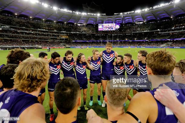 Nat Fyfe of the Dockers speaks to the huddle at the start of the gameduring the round five AFL match between the Fremantle Dockers and the Western...