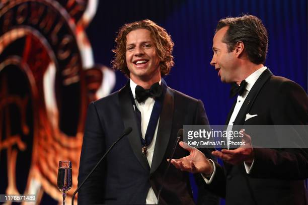 Nat Fyfe of the Dockers the speaks after winning the 2019 Brownlow Medal during of the 2019 Brownlow Medal at Crown Palladium on September 23 2019 in...