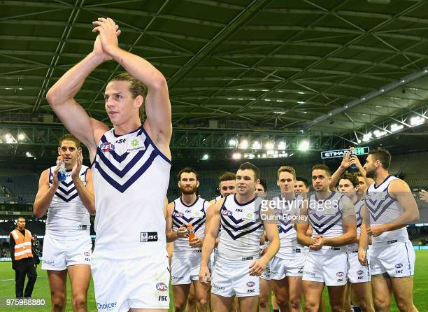 Nat Fyfe of the Dockers walks off the ground in game 150 after winning the round 13 AFL match between the Carlton Blues and the Fremantle Dockers at...