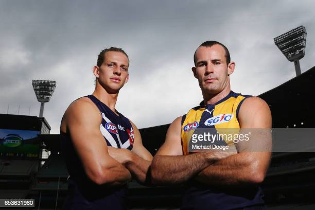 Nat Fyfe of the Fremantle Dockers and Shannon Hurn of the West Coast Eagles pose during AFL Captains Day at Melbourne Cricket Ground on March 16 2017...