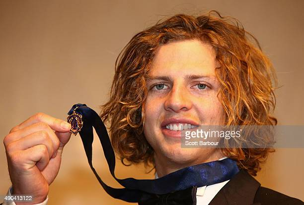 Nat Fyfe of the Fremantle Dockers poses after winning the 2015 Brownlow Medal at the 2015 Brownlow Medal at Crown Palladium on September 28 2015 in...