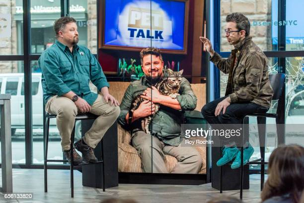 Nat Geo WILD host David Mizejewski discusses Pet Talk with Moderator Matt Forte during the build series at Build Studio on March 21 2017 in New York...