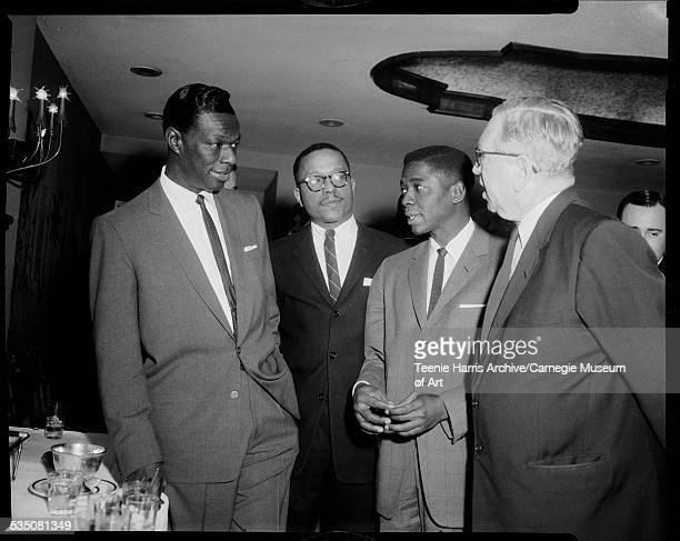 Nat King Cole Harold Keith George Pitts and Gulf Oil executive Roy Kohler posed in Carlton House for Capitol Records press party Pittsburgh...