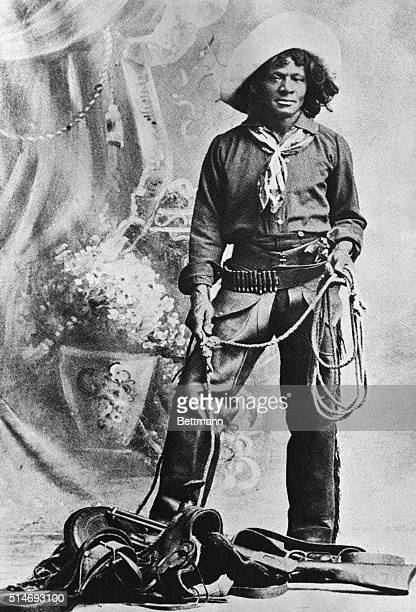 Nat Love, African American cowboy who claimed to have won the name of Deadwood Dick in South Dakota by virtue of his roping talent. Full length photo...