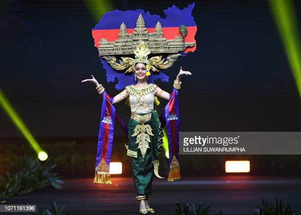 Nat Rern Miss Cambodia 2018 walks on stage during the 2018 Miss Universe national costume presentation in Chonburi province on December 10 2018