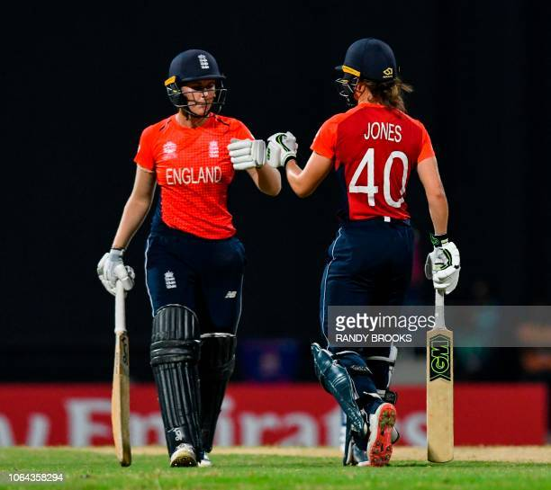 Nat Sciver and Amy Jones of England 50 runs partnership during the ICC Women's World T20 2nd semifinal match between England and India at Sir Vivian...