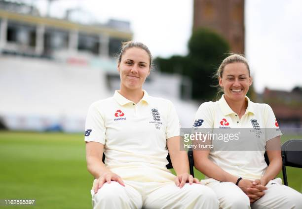 Nat Sciver and Laura Marsh of England Women look on during England Women Nets Session at The Cooper Associates County Ground on July 17 2019 in...