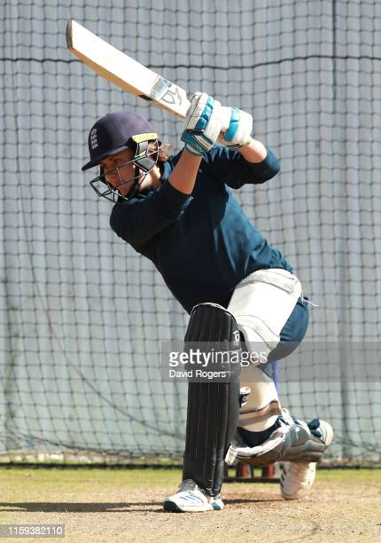 Nat Sciver bats during the England nets practice at Fischer County Ground on July 01 2019 in Leicester England