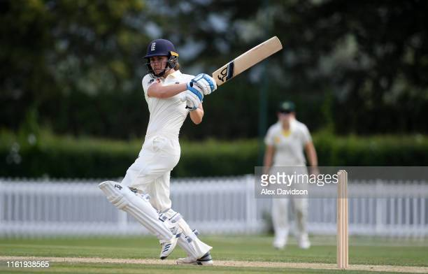 Nat Sciver of England bats during Day Three of the International Friendly match between England Women and Australia A Women at Millfield School on...