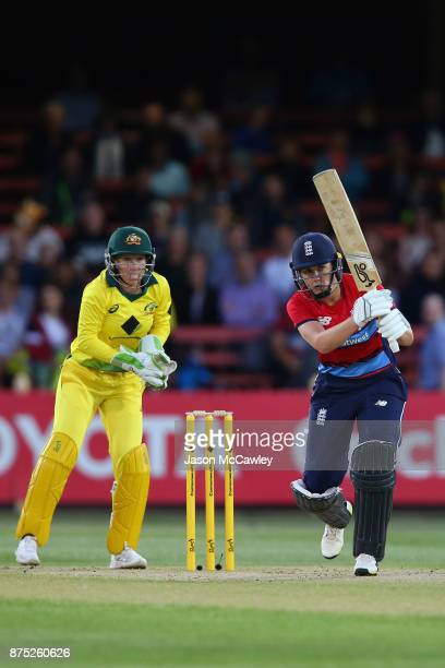 Nat Sciver of England bats during the first Women's Twenty20 match between Australia and England at North Sydney Oval on November 17 2017 in Sydney...