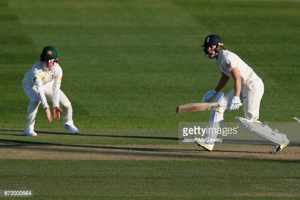 Nat Sciver of England bats during the Women's Test match between Australia and England at North Sydney Oval on November 9 2017 in Sydney Australia