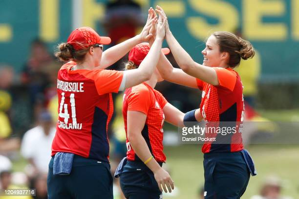 Nat Sciver of England celebrates after dismissing Rachael Haynes of Australia during game six of the Women's One Day International series between...