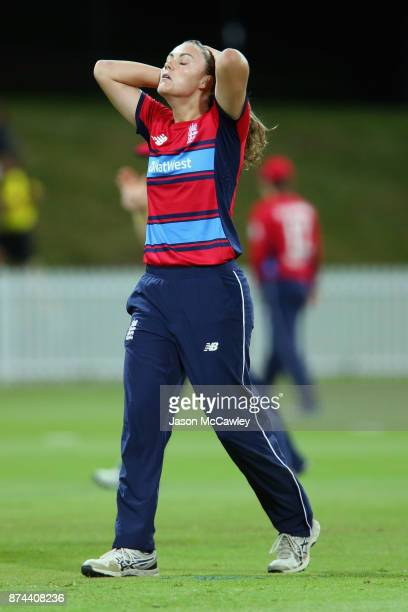 Nat Sciver of England reacts during the T20 match between the GovernorGeneral's XI and England at Drummoyne Oval on November 15 2017 in Sydney...