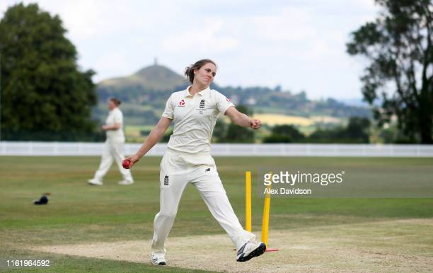 Nat Sciver of England warms up during Day Three of the International Friendly match between England Women and Australia A Women at Millfield School...