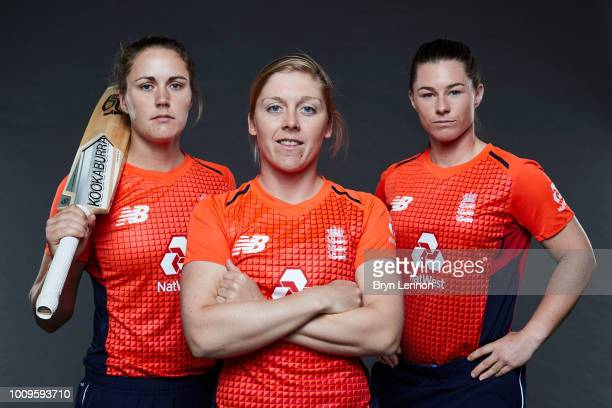 Nat Sciver Tammy Beaumont and Heather Knight pose for a photo at Lord's Cricket Ground on May 21 2018 in London England