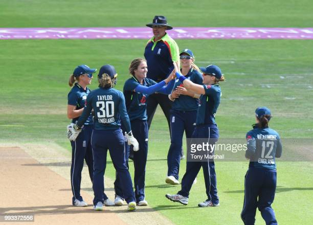 Nat Scriver of England Women celebrates taking the wicket of Amelia Kerr of New Zealand Women during the 1st ODI ICC Women's Championship between...