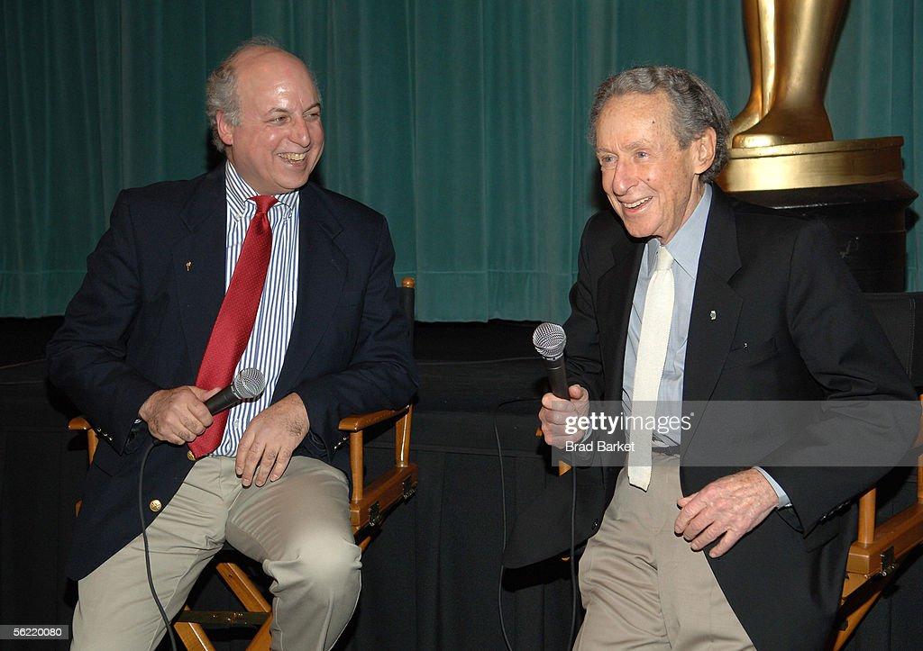 Nat Segaloff (L) and Arthur Penn speak at the Academy Pays Tribute To Arthur Penn at the Academy Theater at Lighthouse International on November 17, 2005 in New York City.