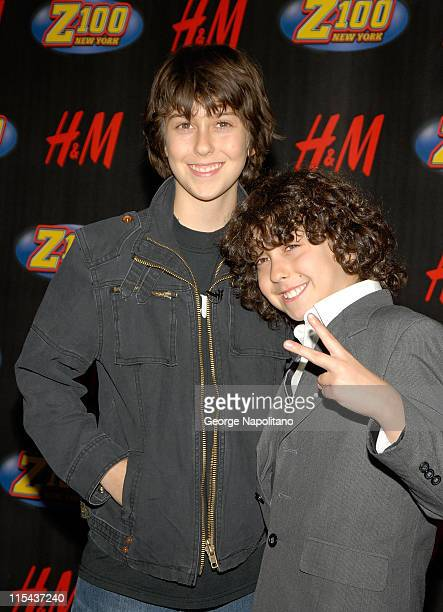Nat Wolff and Alex Wolff of Nickelodeon's The Naked Brothers Band pose for a photo in the press room during Z100's Jingle Ball 2007 at Madison Square...