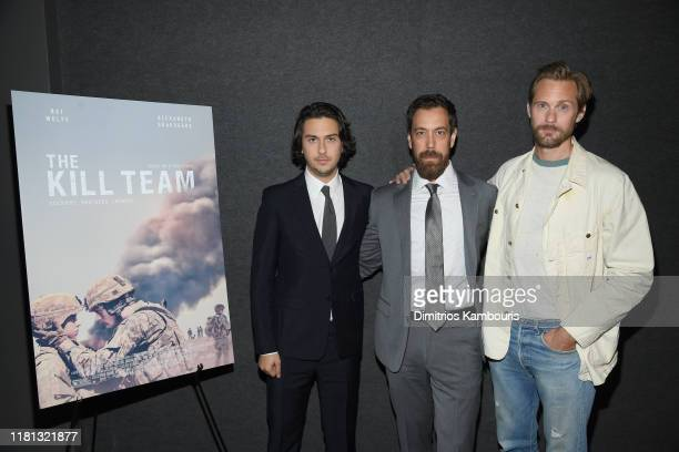 """Nat Wolff, director Dan Krauss and Alexander Skarsgård attend """"The Kill Team"""" New York Screening at Landmark 57 on October 15, 2019 in New York City."""