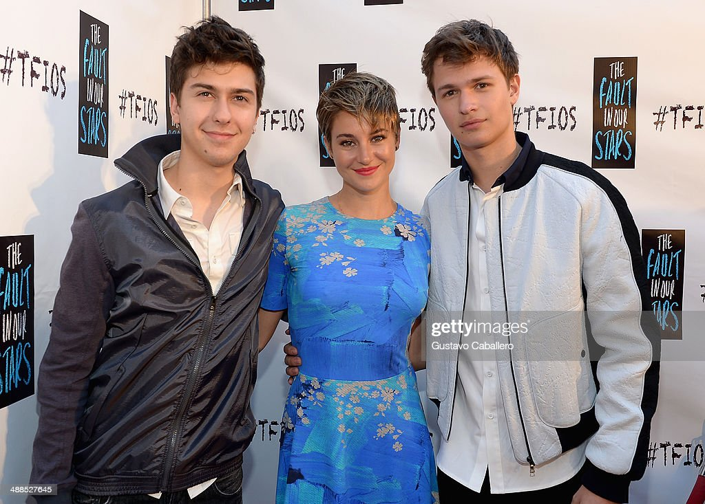 Nat Wolff, Shailene Woodley and Ansel Elgort attend the The Fault In Our Stars Miami Fan Event at Dolphin Mall on May 6, 2014 in Miami, Florida.