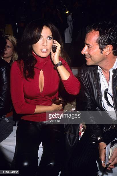 Natacha Amal and Bernard Montiel during Paris Fashion Week Spring/Summer 2007 Jean Louis Scherrer Front Row and Backstage at Carrousel Du Louvre in...