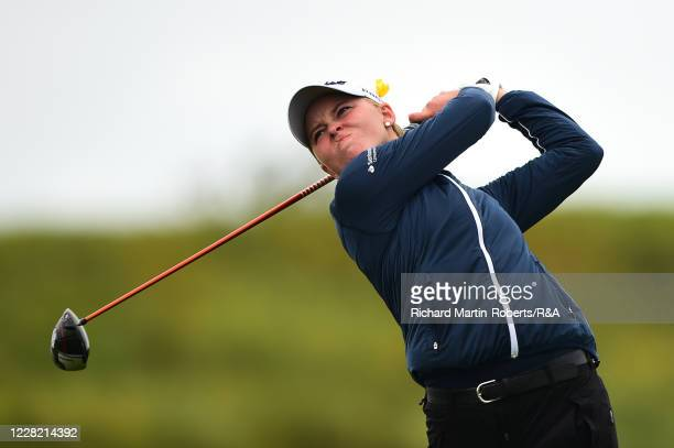 Natacha Host Husted of Denmark tees off during Strokeplay on Day Two of The Women's Amateur Championship at The West Lancashire Golf Club on August...