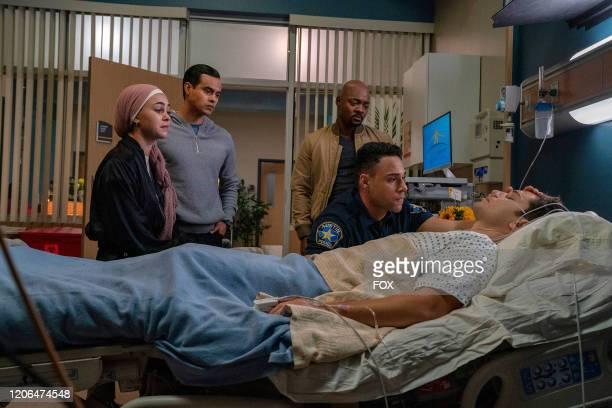 Natacha Karam Julian Works Brian Michael Smith Rafael Silva and Ronen Rubinstein in the Monster Inside episode of 911 LONE STAR airing Monday March 2...