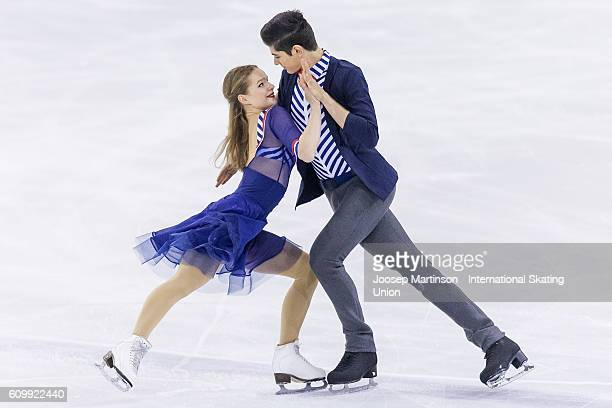 Natacha Lagouge and Corentin Rahier of France compete during the Junior Ice Dance Short Dance on day two of the ISU Junior Grand Prix of Figure...