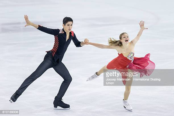 Natacha Lagouge and Corentin Rahier of France compete during the Junior Ice Dance Free Dance on day three of the ISU Junior Grand Prix of Figure...