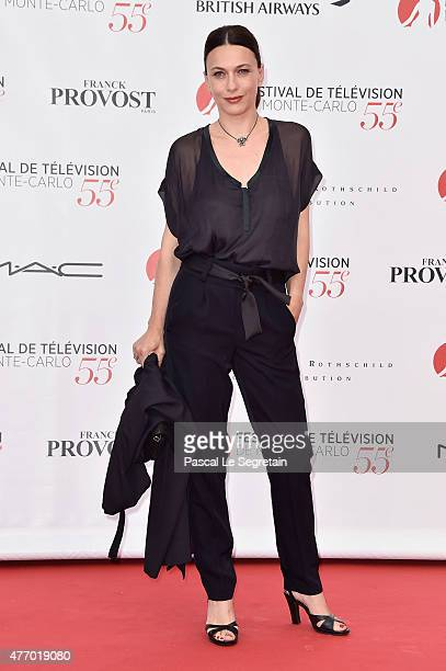 Natacha Lindinger arrives to attend the opening ceremony of the 55th Monte Carlo TV Festival on June 13 2015 in MonteCarlo Monaco
