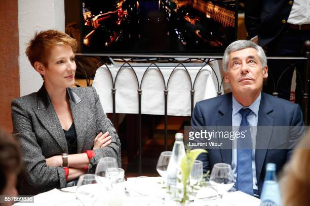 Natacha Polony and Henri Guaino attend 'Sud Radio' Press Conference at Brasserie 'Le Sud' on October 5 2017 in Paris France