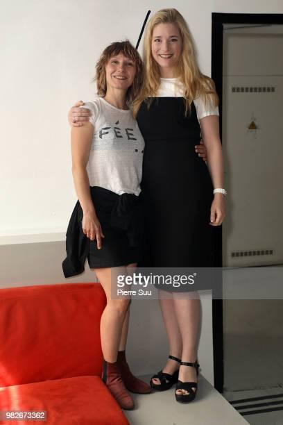 Natacha regnier and Dinara Droukarova attend the Agnes B Menswear Spring/Summer 2019 show as part of Paris Fashion Week on June 24 2018 in Paris...