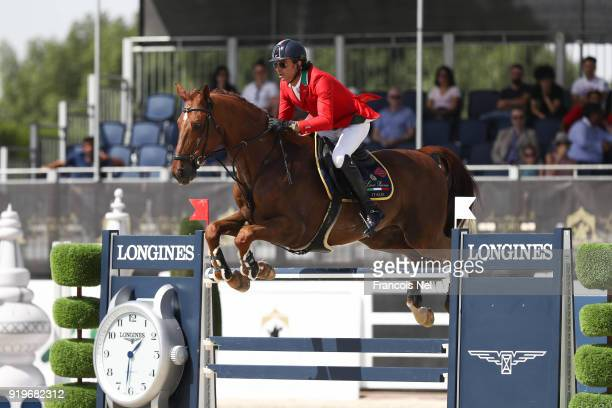 Natale Chiaudani of Italia rides Almero during The President of the UAE Show Jumping Cup at Al Forsan on February 17 2018 in Abu Dhabi United Arab...
