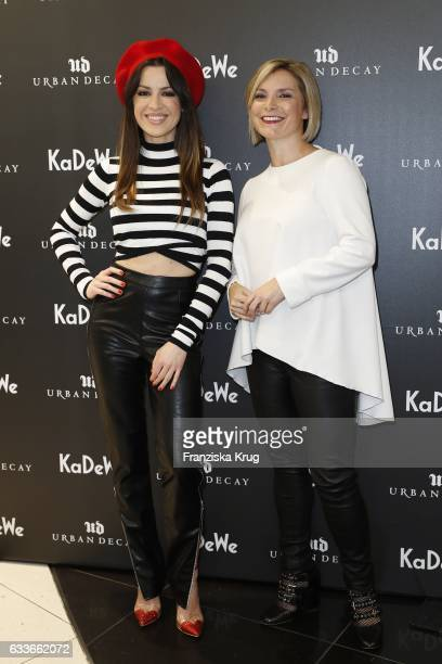 Natalia Avelon and Julie Gasperini attend the Urban Decay ReOpening at KaDeWe Berlin on February 3 2017 in Berlin Germany