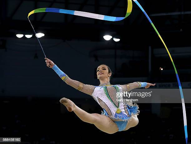 Natalia Azevedo Gaudio of Brazil performs her routine in the ribbon competition in rhythmic gymnastics at the Toronto 2015 PanAm Games in Toronto...
