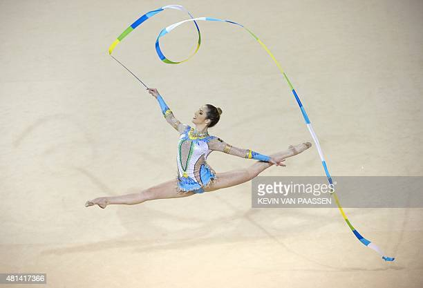 Natalia Azevedo Gaudio of Brazil performs in the ribbon rotation in Rhythmic Gymnastics at the Pan American Games July 20 2015 in Toronto Canada AFP...