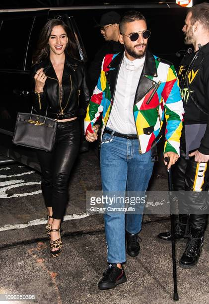 Natalia Barulich and Maluma are seen arriving to the Jeremy Scott Fashion Show during New York Fashion Week The Shows at Gallery I at Spring Studios...