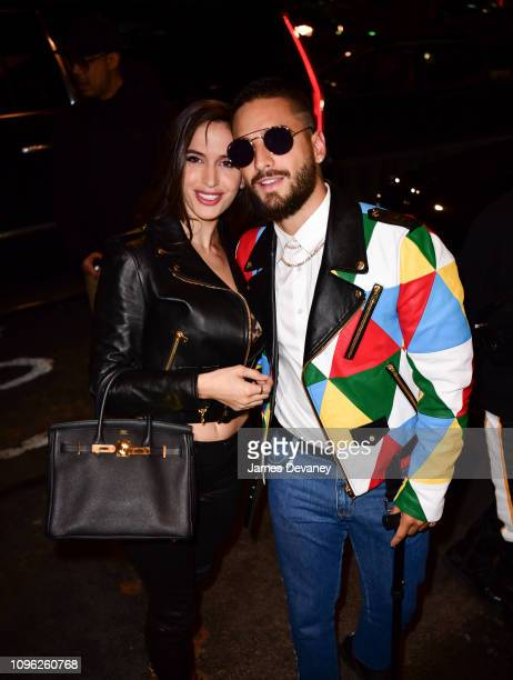 Natalia Barulich and Maluma arrive to Jeremy Scott Fashion Show at Spring Studios during New York Fashion Week on February 8 2019 in New York City