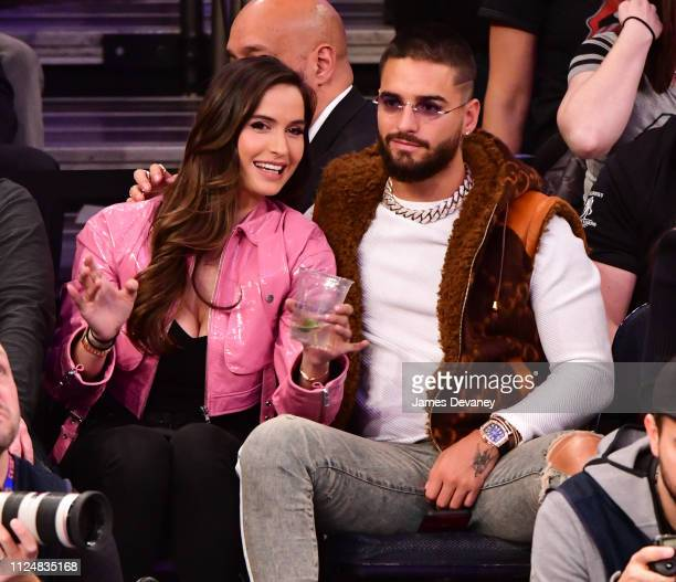 Natalia Barulich and Maluma attend Philadelphia 76ers v New York Knicks game at Madison Square Garden on February 13 2019 in New York City