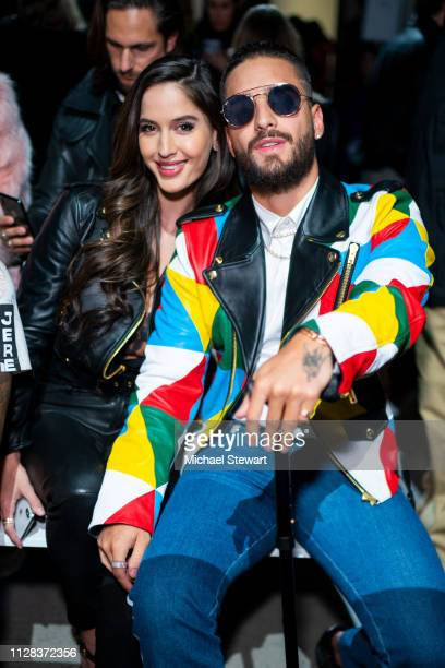 Natalia Barulich and Maluma attend the Jeremy Scott fashion show during New York Fashion Week The Shows at Gallery I at Spring Studios on February 08...
